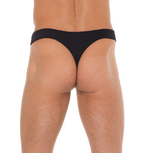 Mens Black GString With Zipper On Pouch