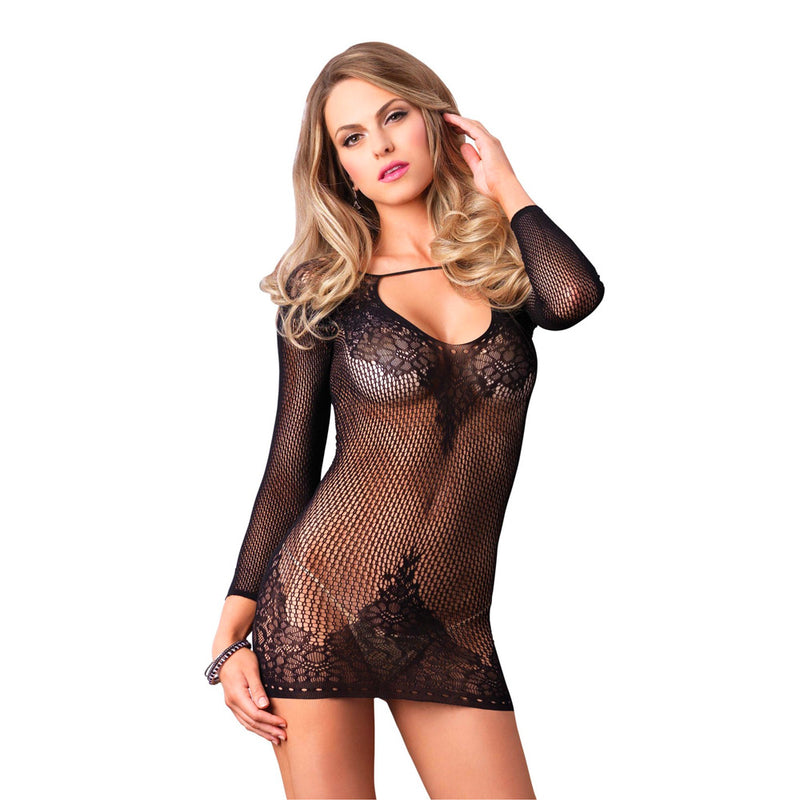 Leg Avenue Long Sleeved Mini Dress UK 8 to 14