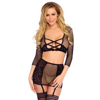 Leg Avenue Crop Top String And Garter Skirt UK 8 to 14