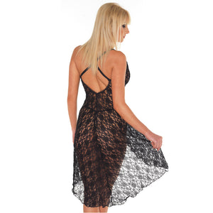 Black Lace Night Dress And GString One Size 8 to 12 UK