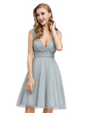 Womens Tulle Homecoming Dress V-Neck A-Line Mini Dress