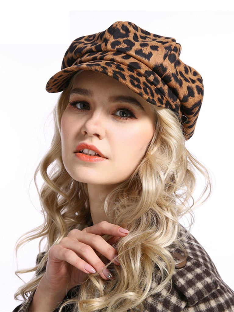 Women Octagonal Hat Fashion Leopard Print Beret Hat