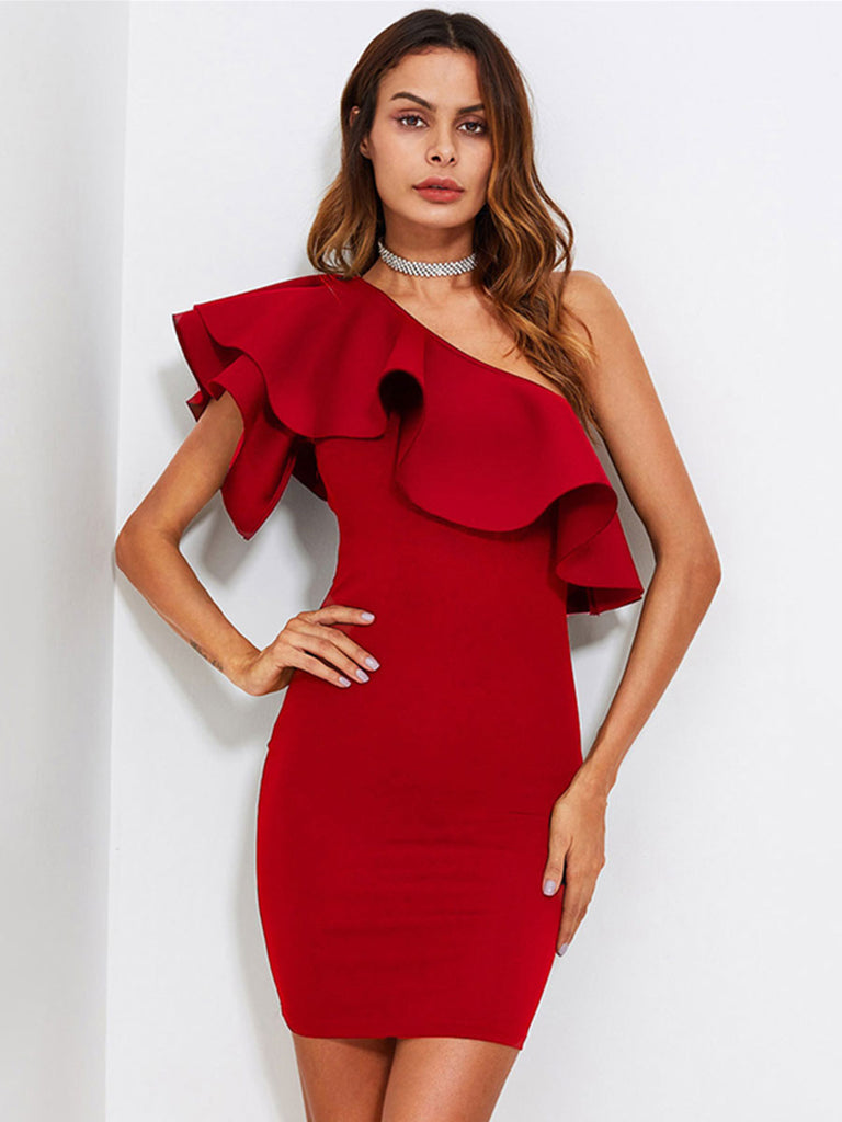Solid Party Dress Red Flounce One Shoulder Form Fitting Bodycon Dress