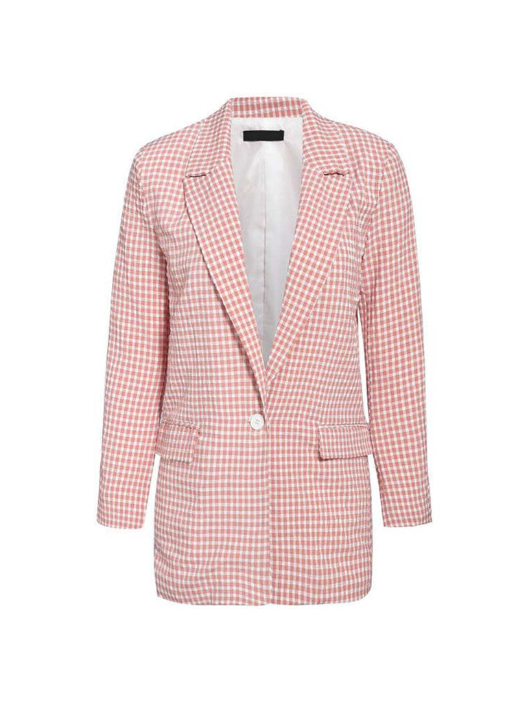 Ladies Plaid Blazer Chic Long-sleeve Single Button Outwear
