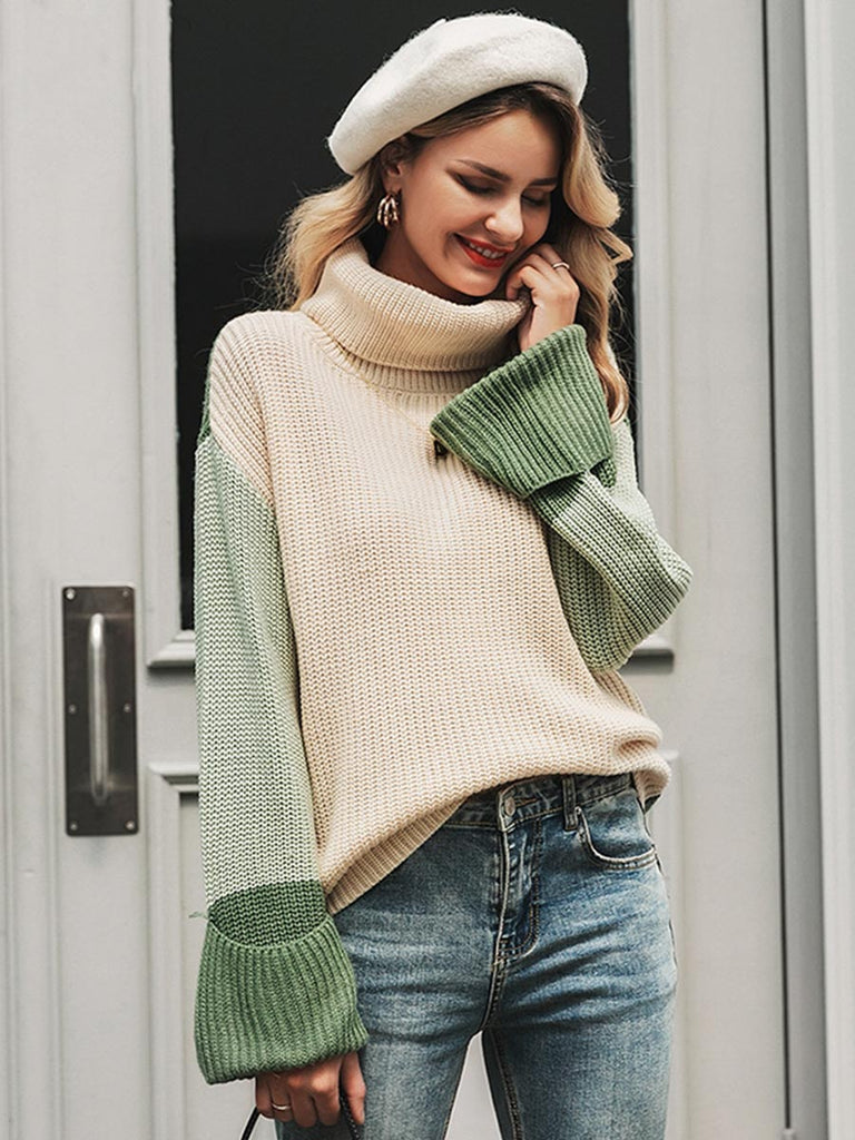 Casual Pullover Long Sleeve Patchwork Turtleneck Knitted Sweater