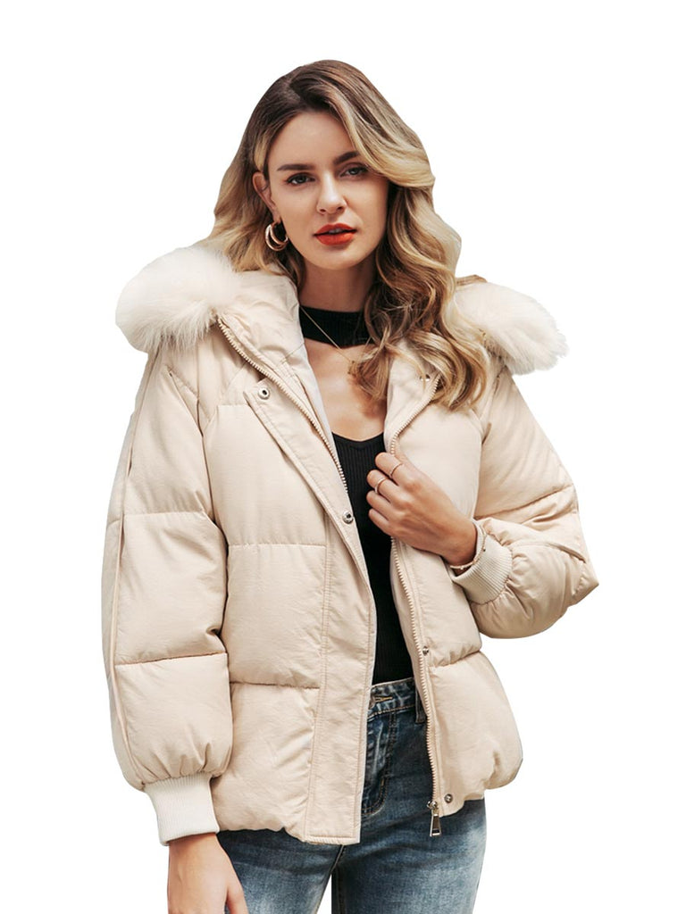 Ladies Coat Oversized Thick Hooded Parkas Fur Collar Outwear