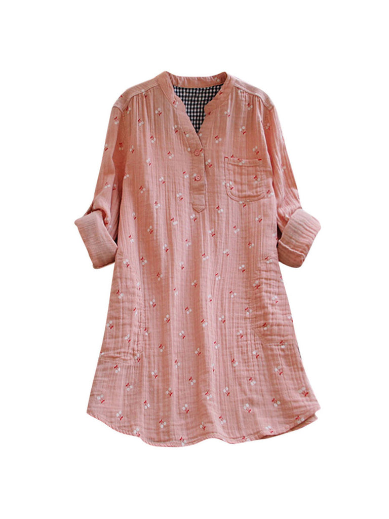 Womens Tops Vintage Long Sleeve Blouse Shirt