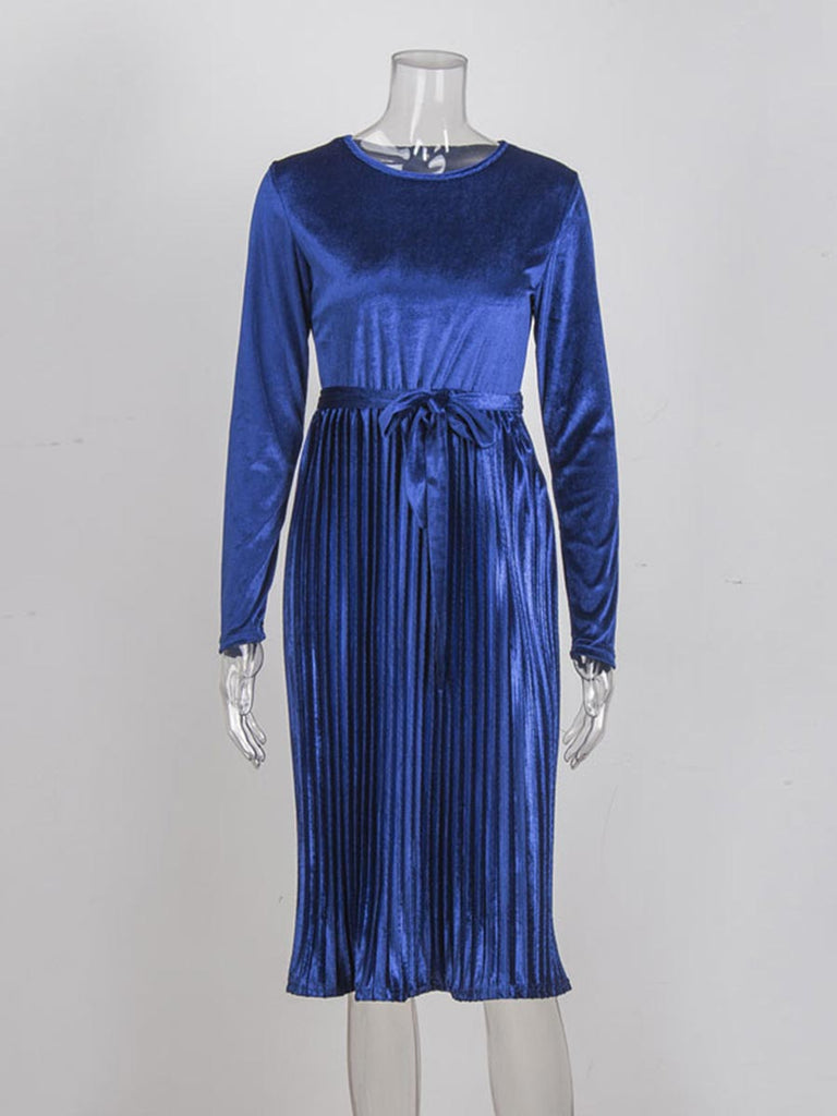 Vintage Dress Belted Long Sleeve Velvet Pleated Dress