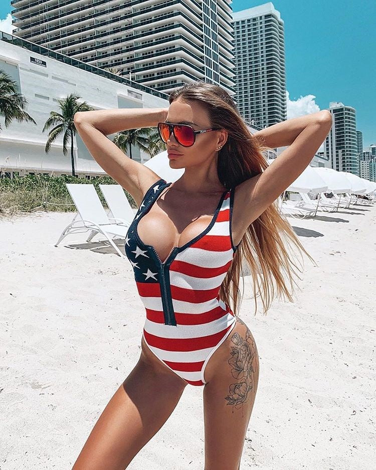 Fashion Sexy Bikini American Flag Printed One-piece Swimsuit