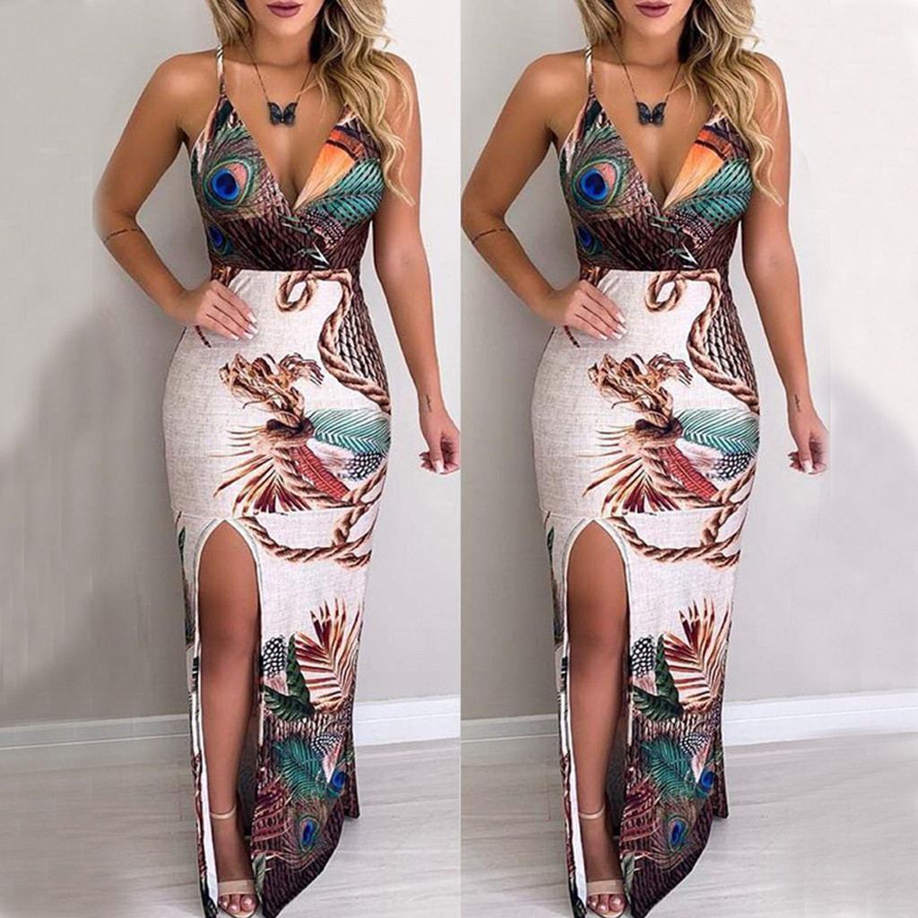 Women's Peacock Floral Dress Sexy V-neck Split Long Dress