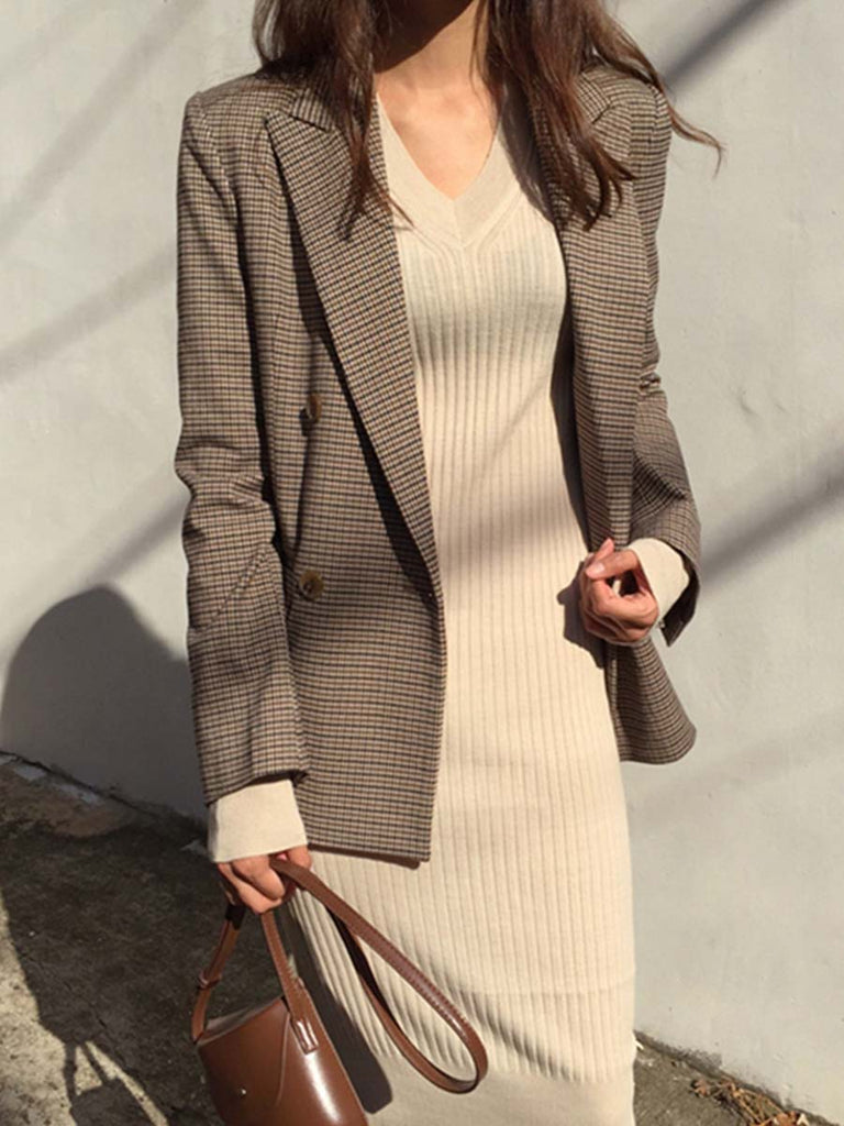 Ladies Blazer Vintage Double Breasted Long Sleeve Plaid Suit