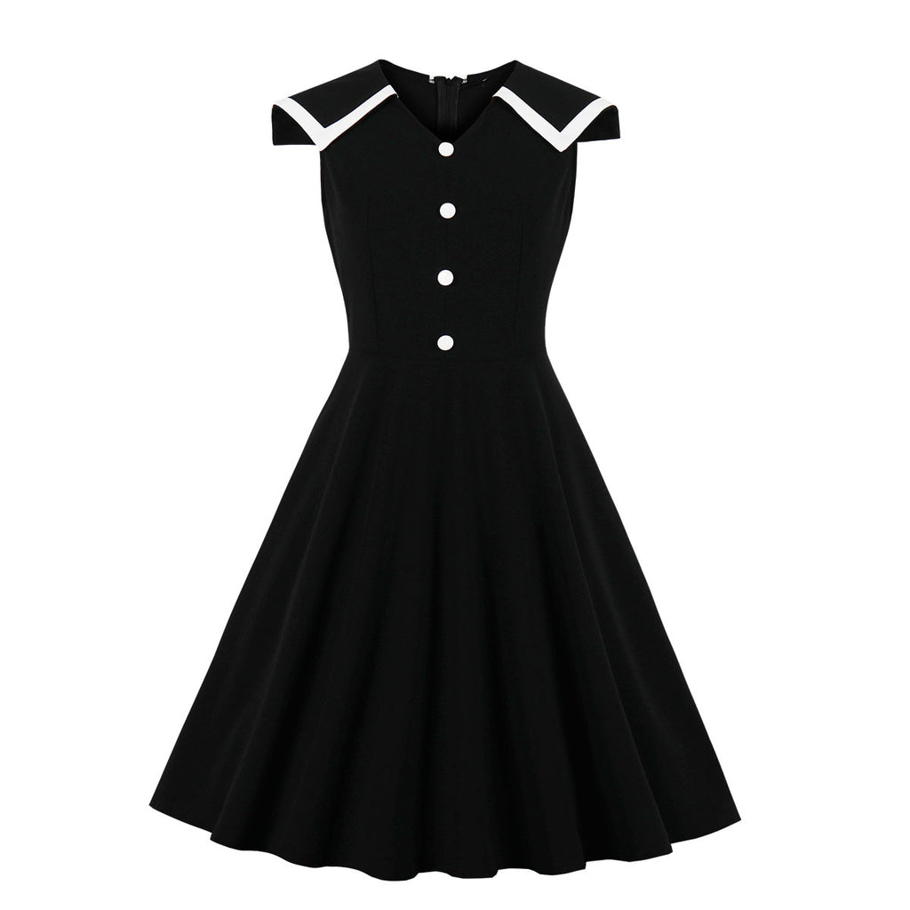 Summer New Stitching Single-breasted V-neck Dress Vintage Large Swing Dress