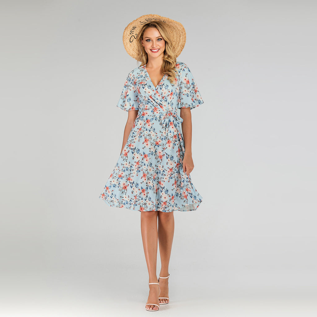 Women Plus Size Summer Short-sleeve Floral Dress Temperament Large Swing Casual Dress