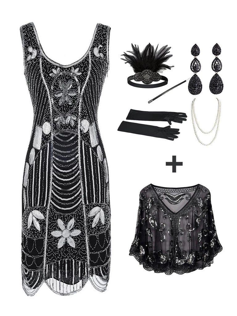 3Pcs Top Seller Beaded Dress & 1920s Accessories Set & Sequined Shawl