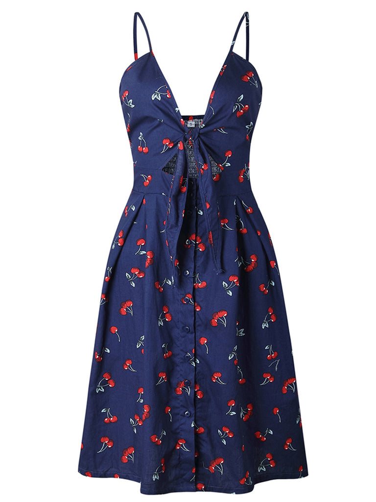 Womens V-Neck Dress Button Bow Decor Casual Dress