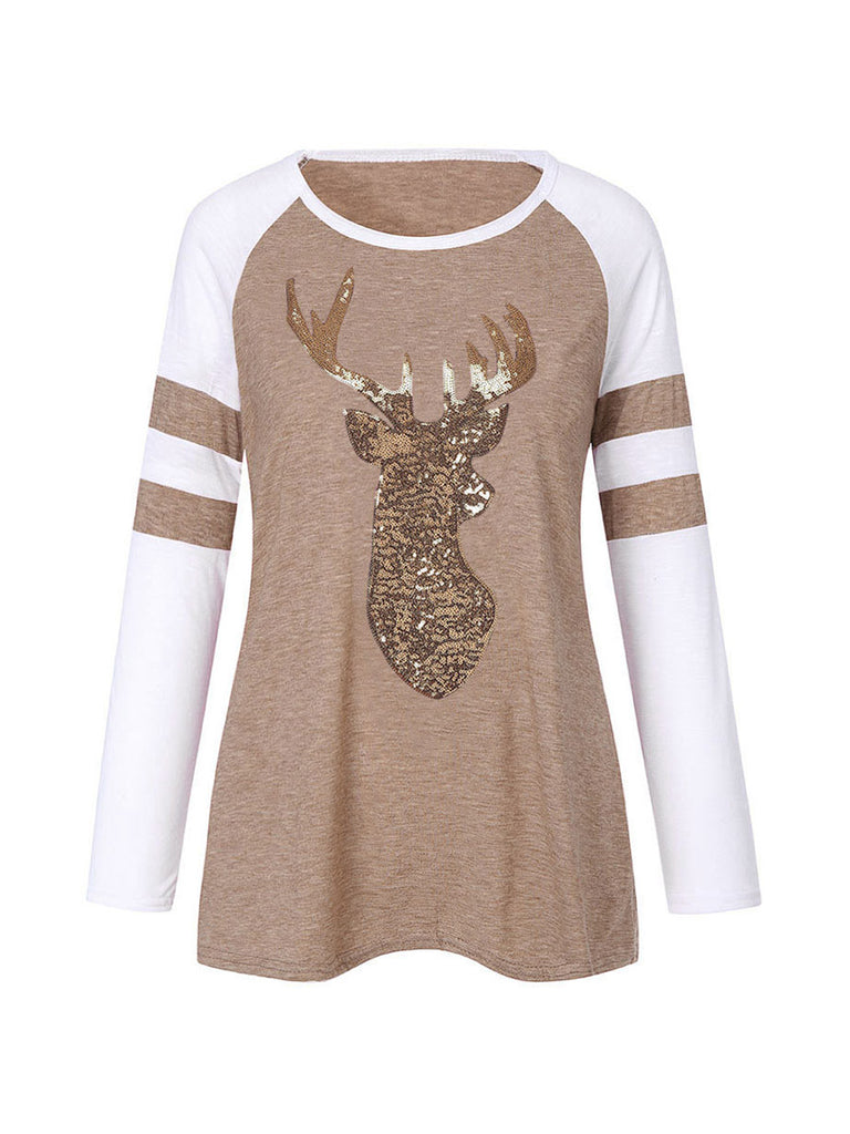 Christmas Tops Elk Print Xmas Long Sleeve Crew Neck Tshirt