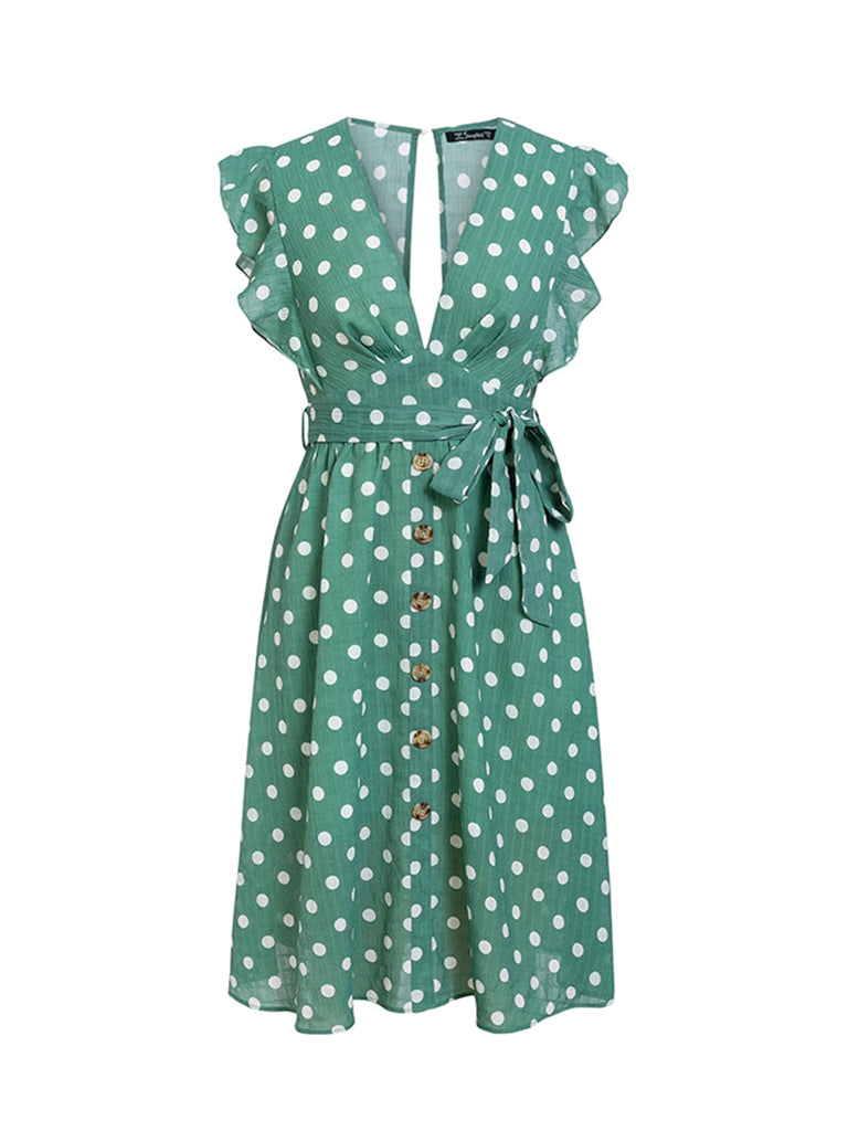 Sexy V-neck Dress Polka Dot Ruffle Sleeve Midi Dress