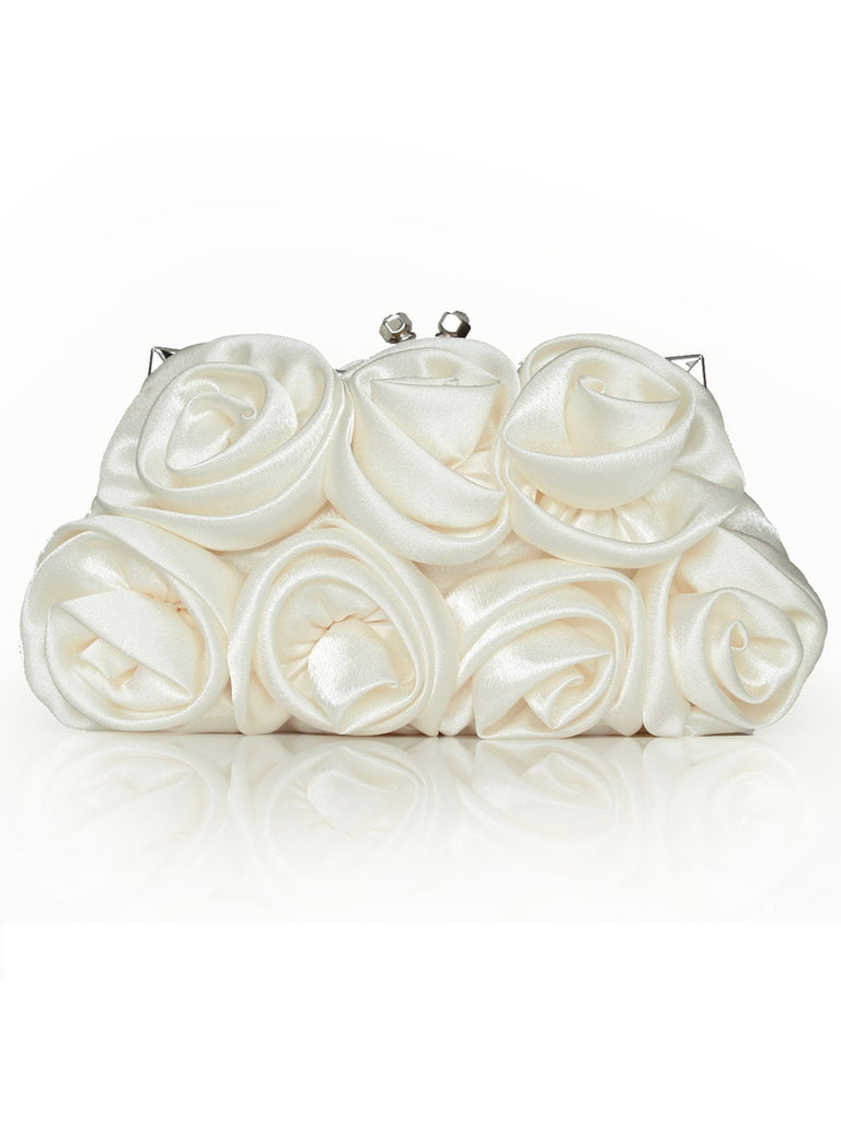 Ladies Evening Bag Fashion Satin Floral Clutch Bag
