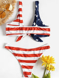 American Flag Print Knotted Bikini Low Waist Swimwear Plunging Bathing Suit