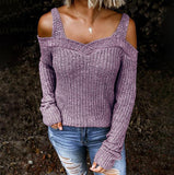 Women's Sexy Sweater Hollow Out Solid Color Casual Long-sleeved Sweater