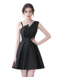 Womens Short A-Line  Dress Satin Elegant Evening Dress