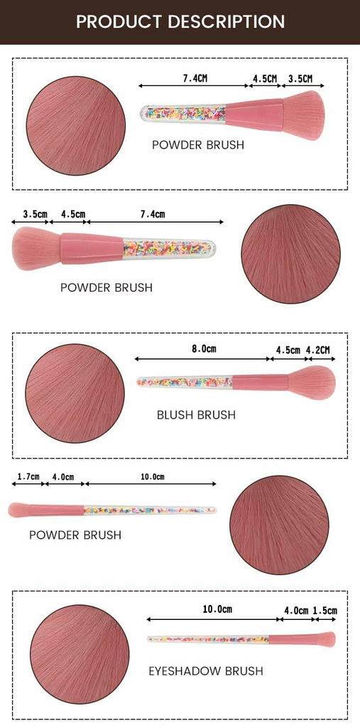 Beauty Tools 5 Pcs Transparent Handle Candy Granule Makeup Brush Set