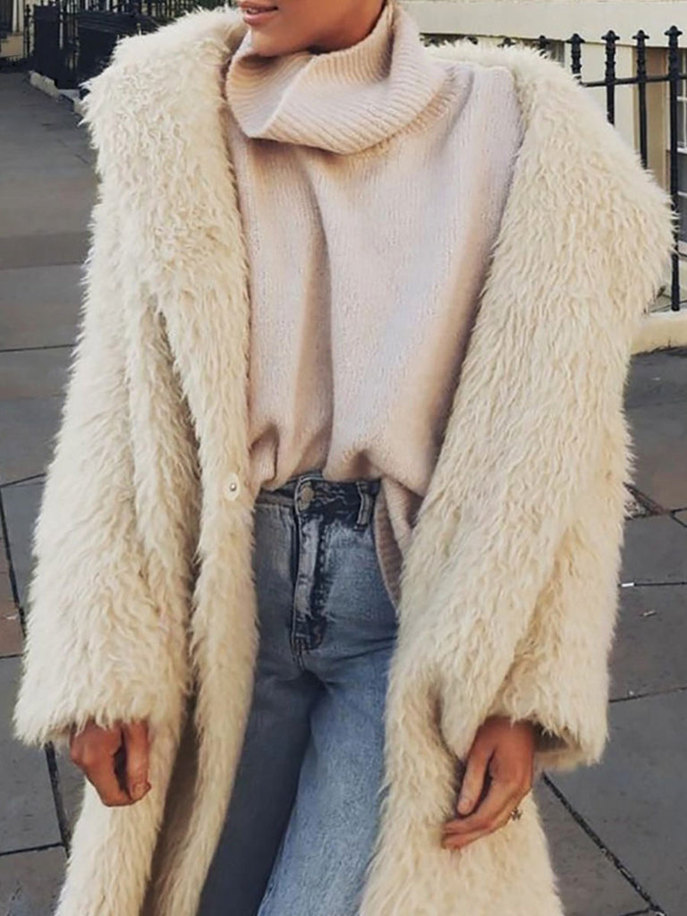 Faux Fur Coat Long Fashion Sleeve Buttons Overcoat