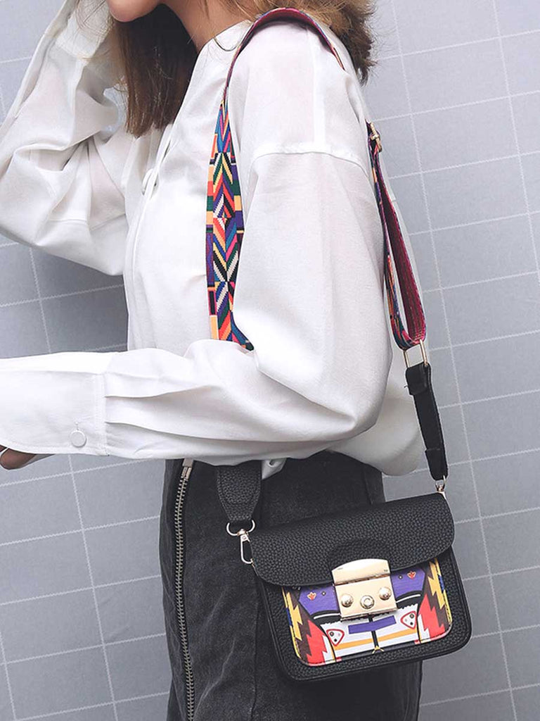 Crossbody Bag Colorful Wide Strap Flap Bag