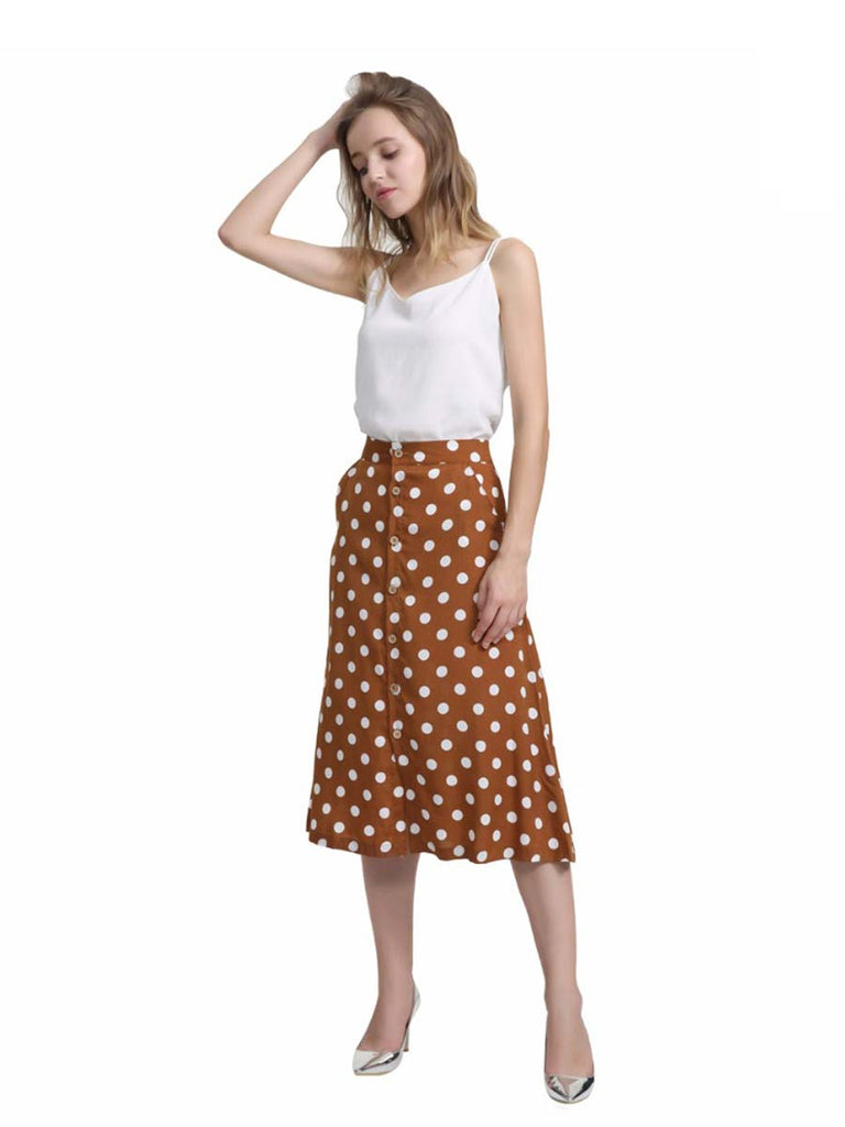 Ladies Skirt Vintage Dot Print  Button Design Mid-calf Skirt