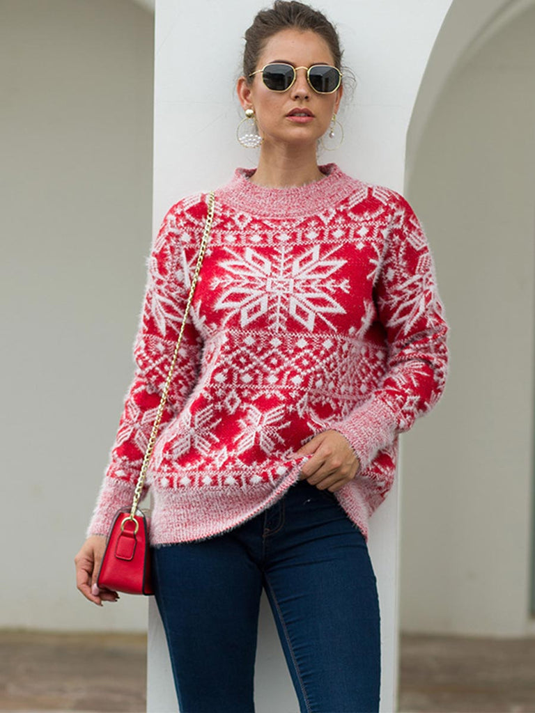 Christmas Sweater Ladies Thick Warm Snowflake Print Knitted Pullover