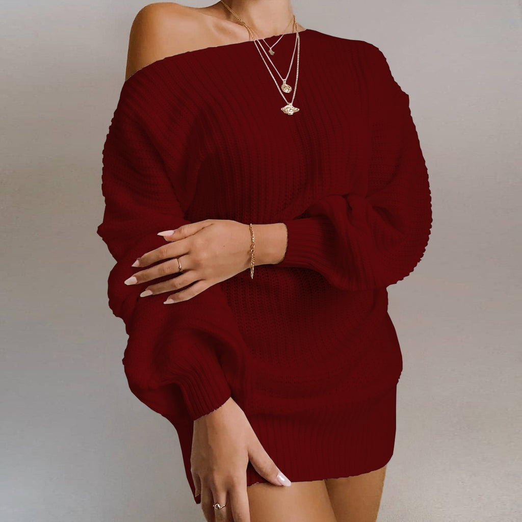 Women's Sweater Sexy Slash Neck Solid Color Lantern Sleeve Pullover
