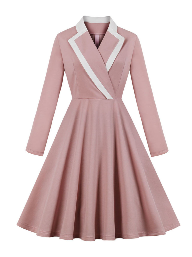 1940s Dress Sweet Pink Cross Collar Long Sleeve Swing Dress