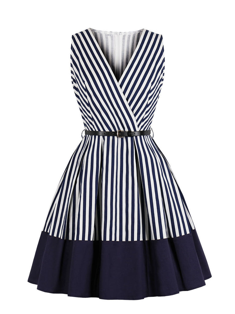 1940s Dress Deep V Striped Retro Swing Dress