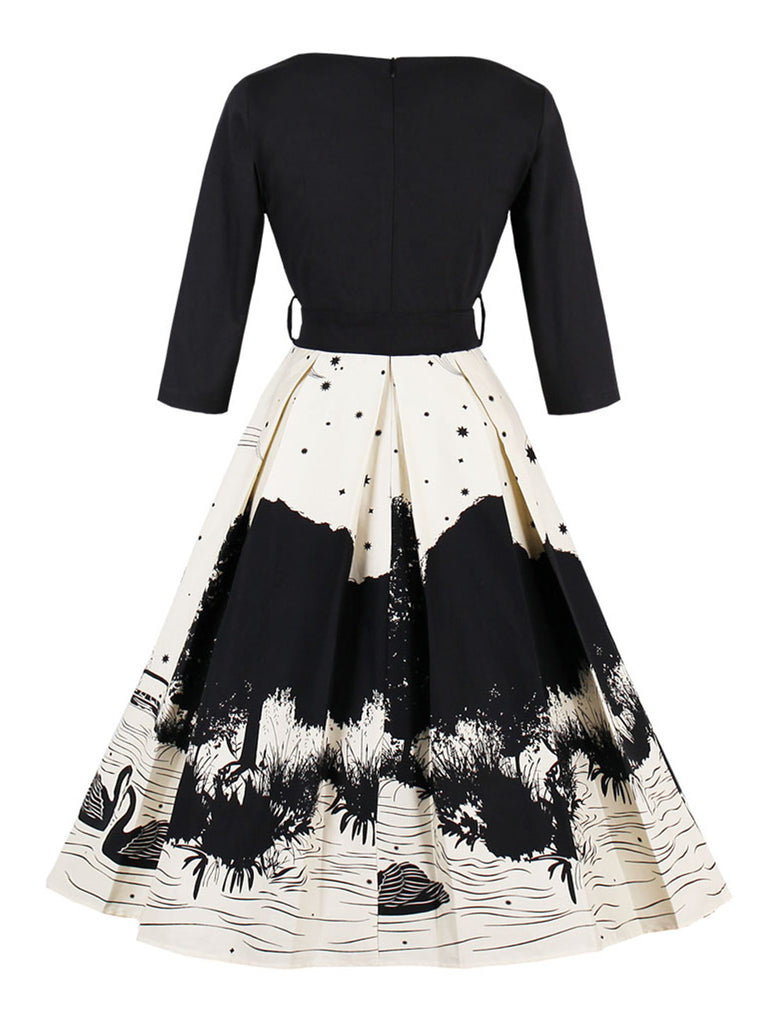 Vintage Dress Swan Printed V-neck Swing Dress
