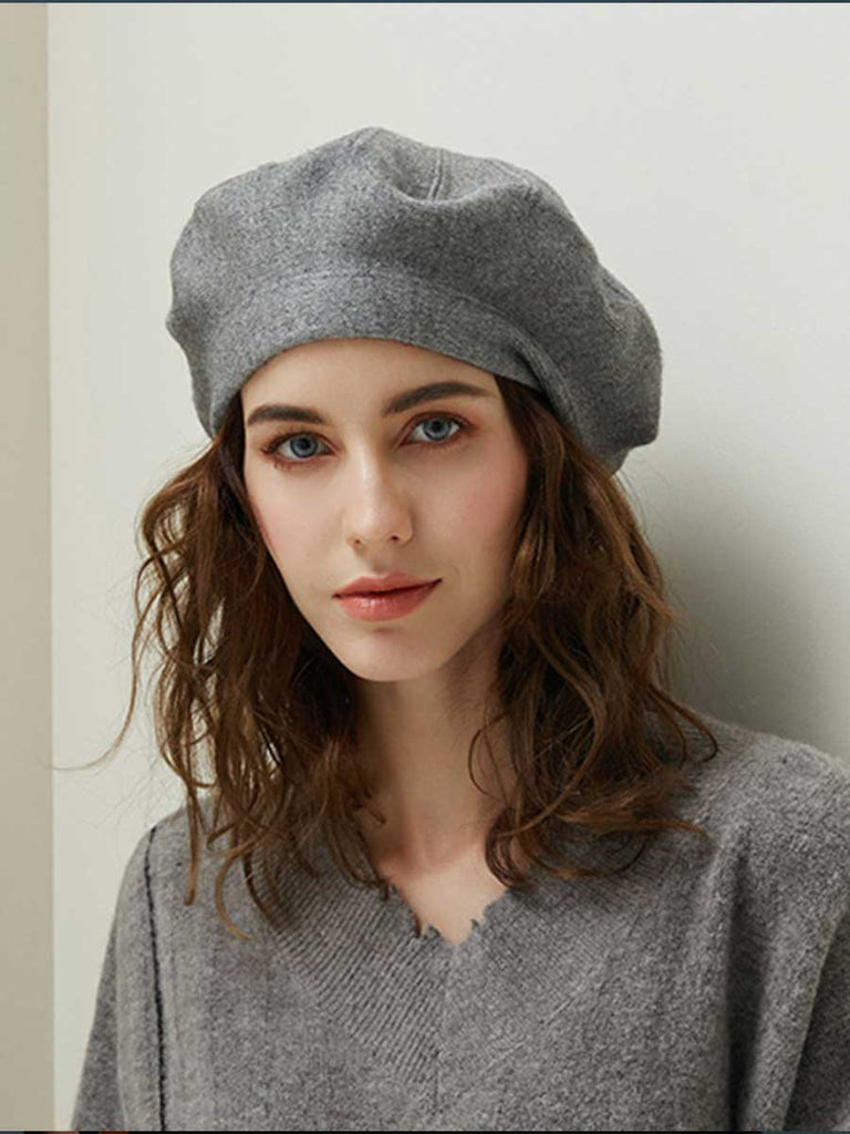 Winter Beret For Women Vintage Wool Knitted Hat