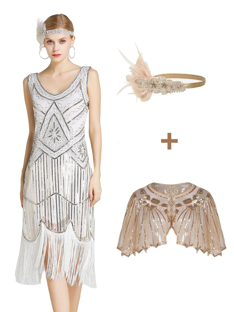 3Pcs Top Seller 1920s Dress & Gatsby Headpiece & Lace Shawl