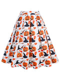 Halloween Style Pumpkin Printed A-Line Pleated Short Skirt