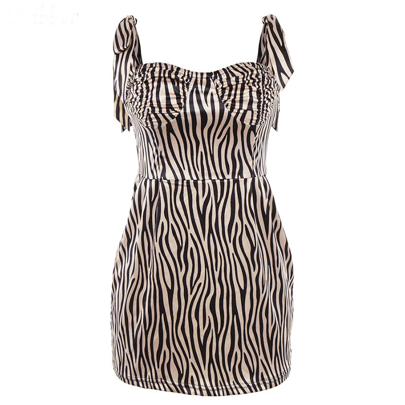 Women Sexy Bow Sling Striped Mini Dress Romantic Club Party Dress