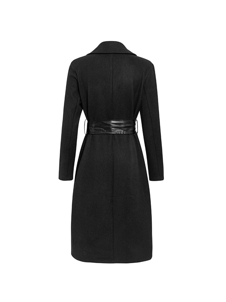 Elegant Long Overcoat Fashion Pearl Pocket Blend Coat