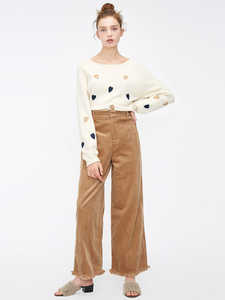 Leisure Raw-edge Cuffs High Waist Wide Leg Cropped Pants