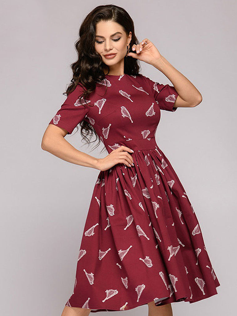 Casual Elegant Dress Short Sleeve O-Neck A-Line Dress
