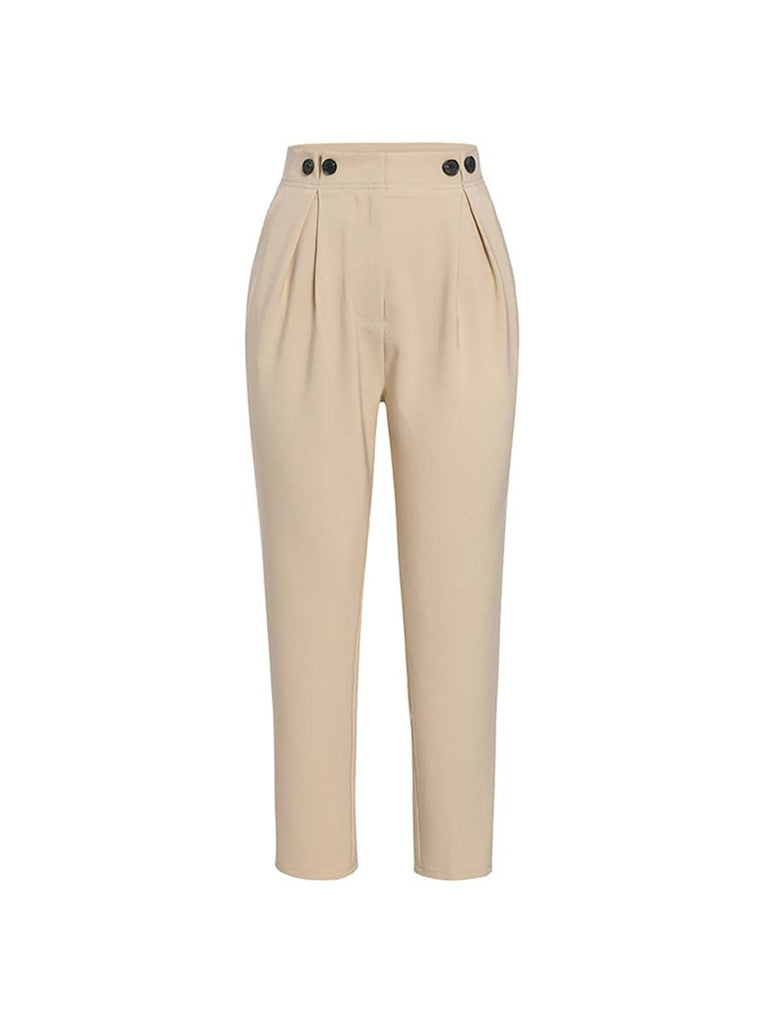 Ladies Pants Solid Casual High Waist Ankle-length Harem Pants