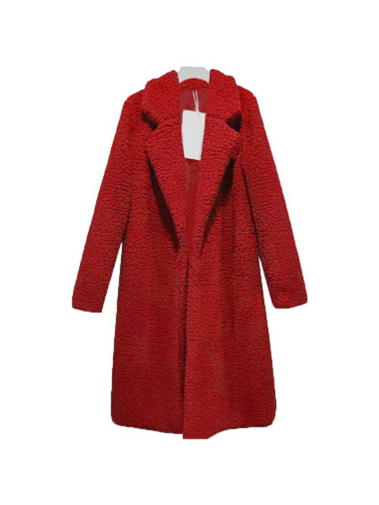 Cashmere Coat Turn-down Collar Long Fur Outerwear