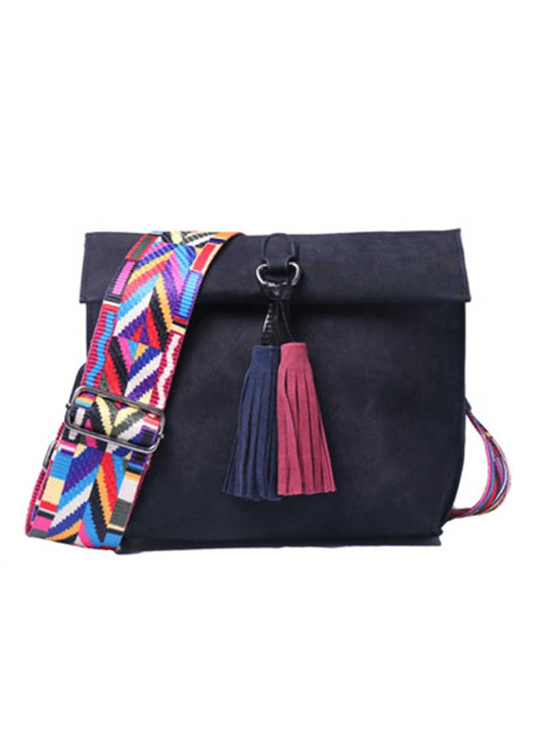 Women Messenger Bag Colorful Strap Tassel Bag