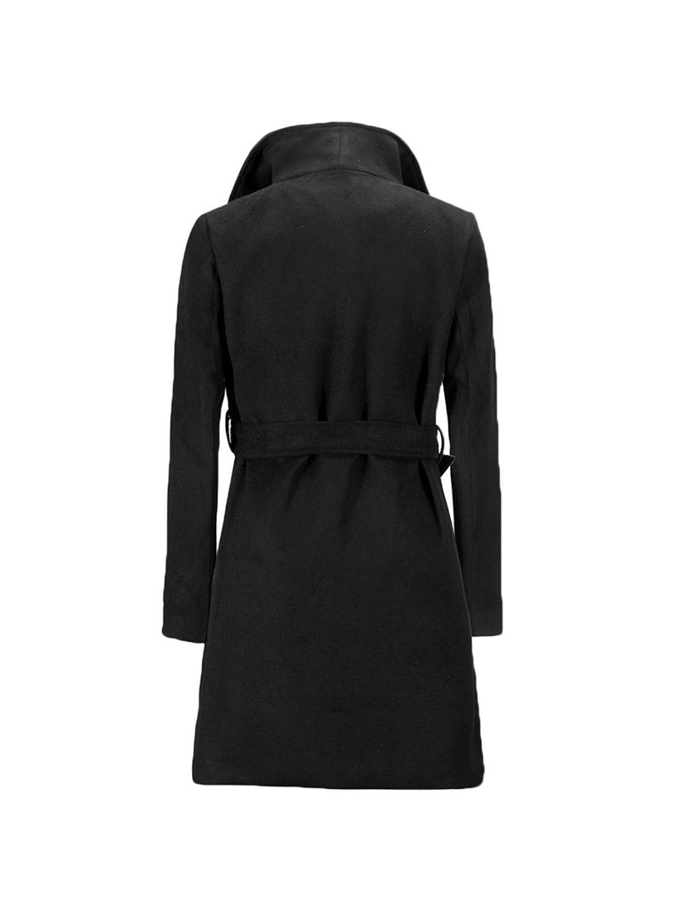 Fashion Coat Vintage Lapel Belt Long Trench Coat