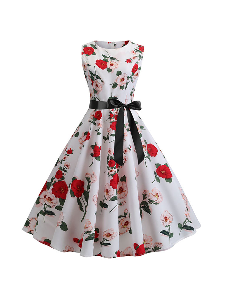 Womens Retro Vintage Dress Sleeveless High Waist Floral Print Dress