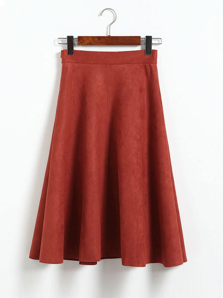 Ladies Flare Skirt Suede High Waist Pleated A-Line Midi Skirt