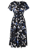 Womens Casual Dress V-neck Slim Floral Dress