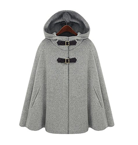 Womens Coat Button Closure Batwing Cape Cloak Outerwear