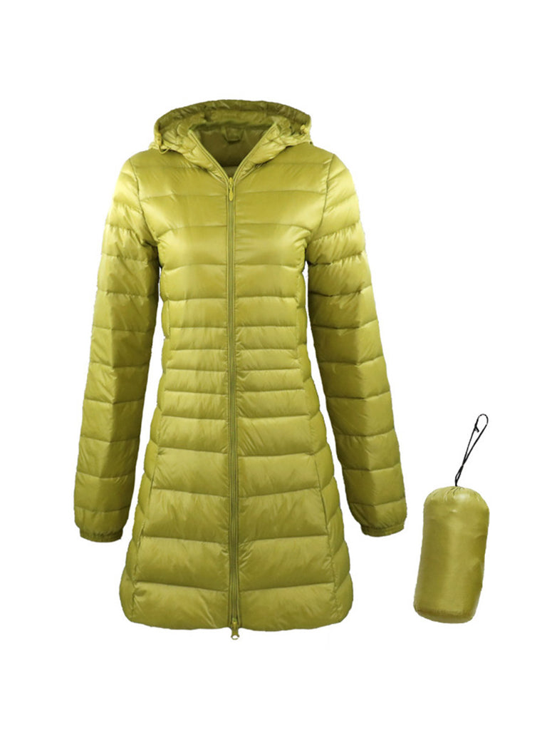 Women Ultra Light Long Down Coat With Portable Storage Bag